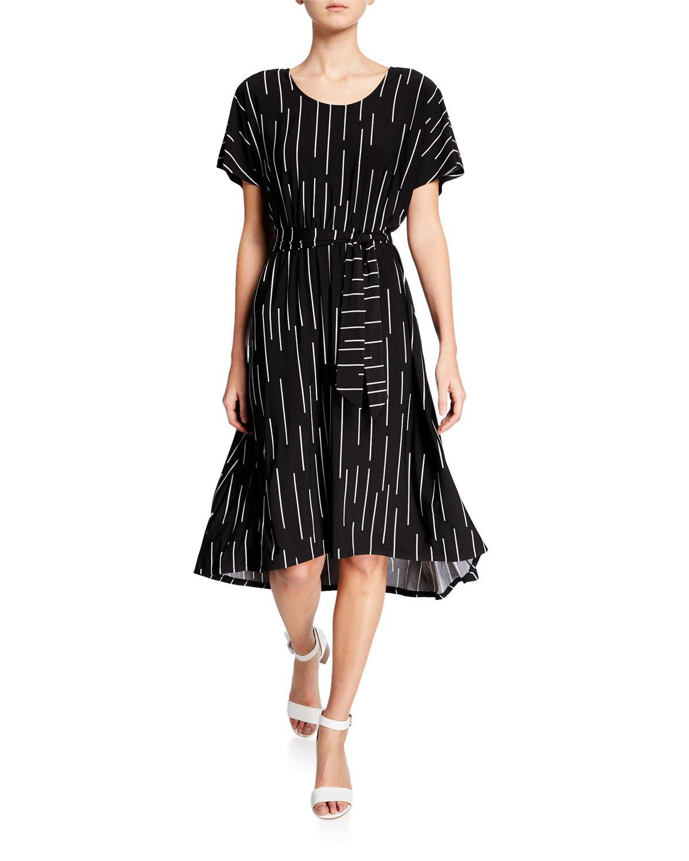 7e803d7b8 Lyst - Joan Vass Printed High-low Midi Dress W/ Tie Waist in Black