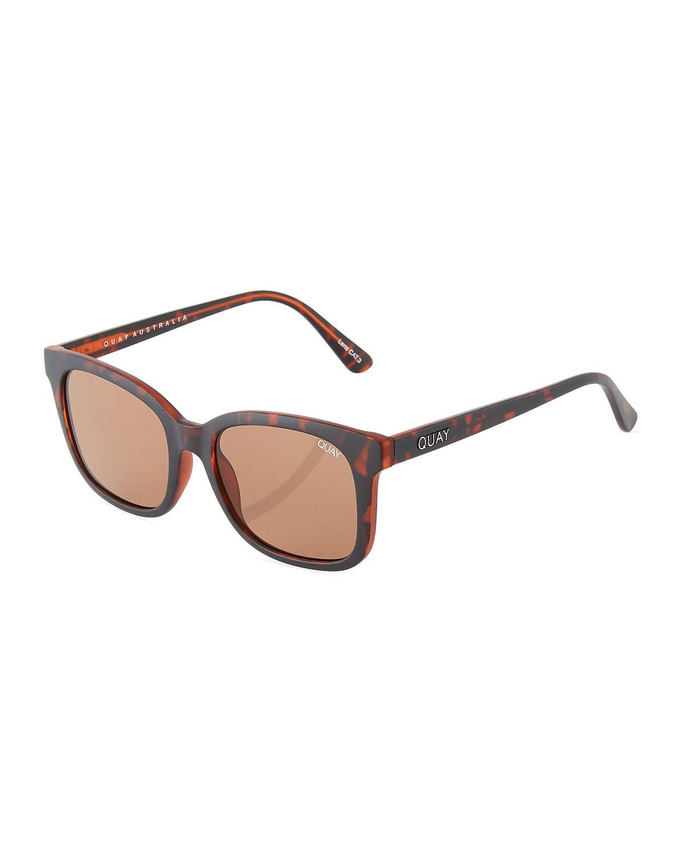 8170dd9fd3916 Lyst - Quay Kingsley Square Plastic Sunglasses in Brown for Men