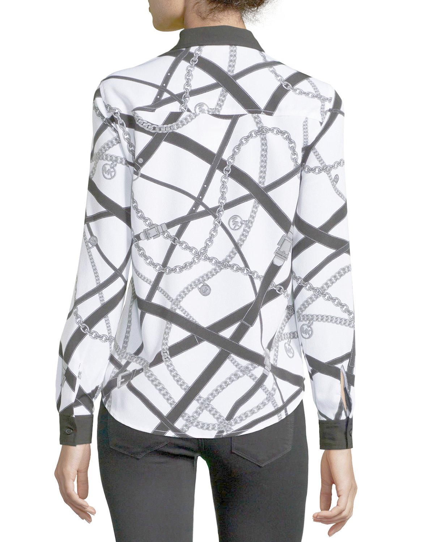 Michael Michael Kors Long Sleeve Button Down Blouse W