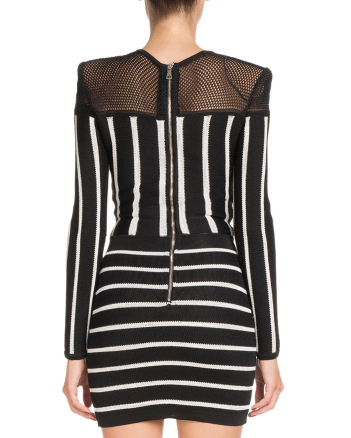 34b222e752 Lyst - Balmain Long-sleeve Striped Short Cocktail Dress With Mesh Inset in  Black - Save 59%