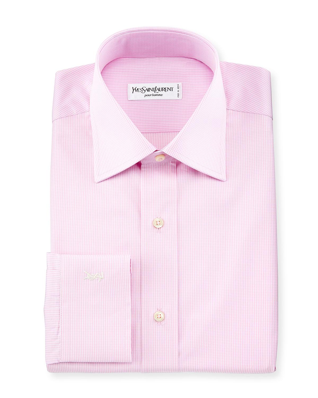 Lyst saint laurent micro gingham long sleeve dress shirt for Pink checkered dress shirt