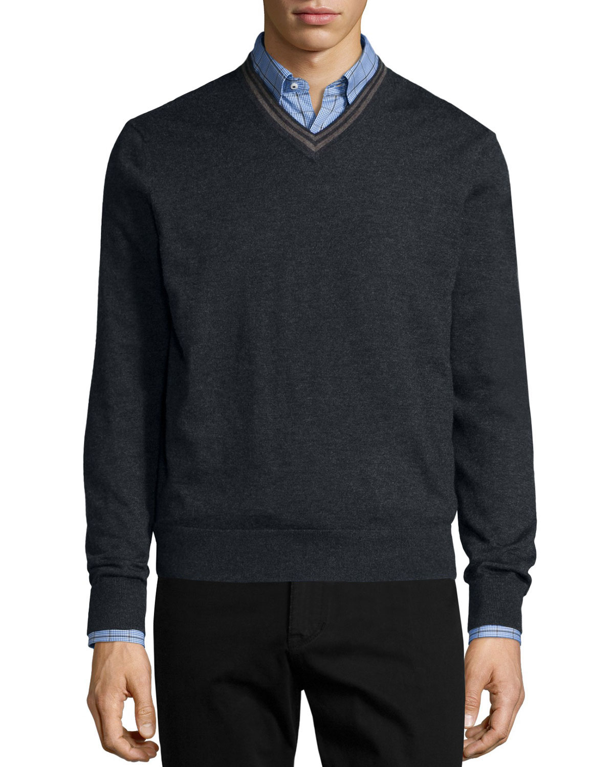 neiman tipped superfine v neck sweater in