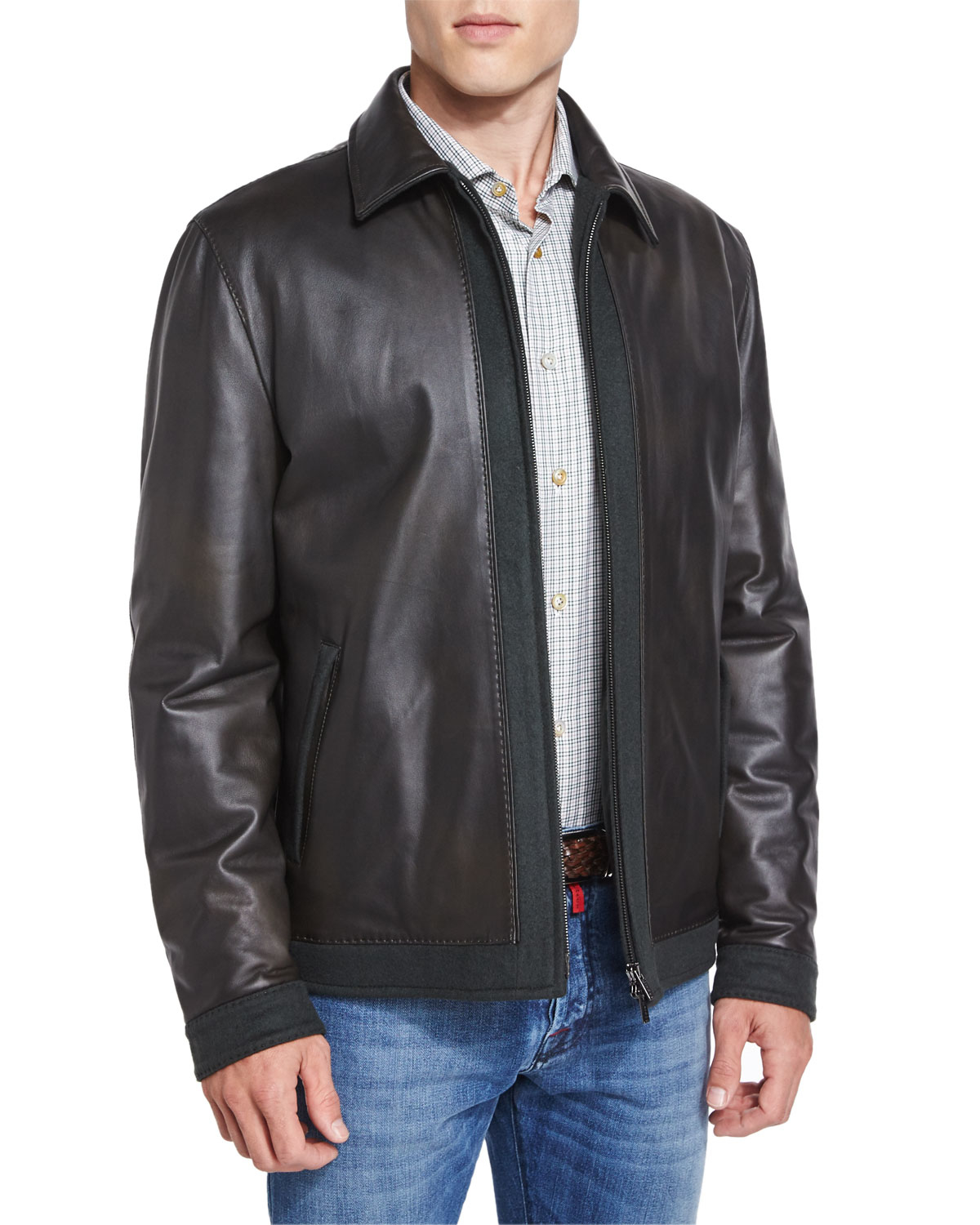 Kiton Leather Bomber Jacket With Cashmere Trim in Black ...