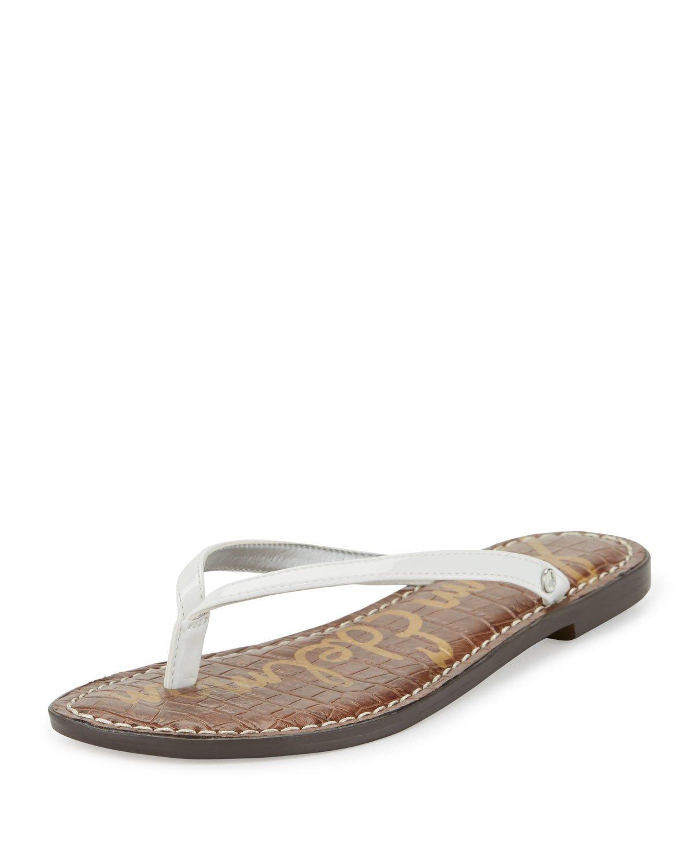 a2f5b9ca8265e6 Lyst - Sam Edelman Gracie Patent Thong Sandal in White