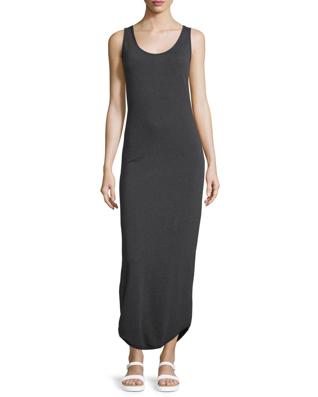 Neiman marcus Shirttail-hem Sleeveless Maxi Dress in Black ...