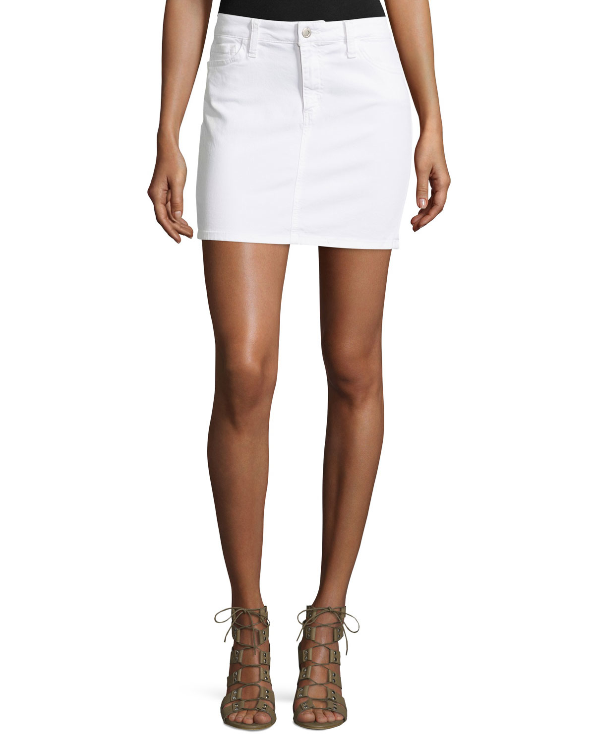 White Jean Mini Skirt 115
