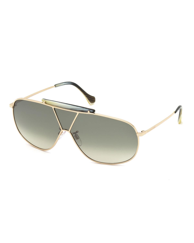 Balenciaga Aviator Shield Metal Sunglasses in Metallic for ...