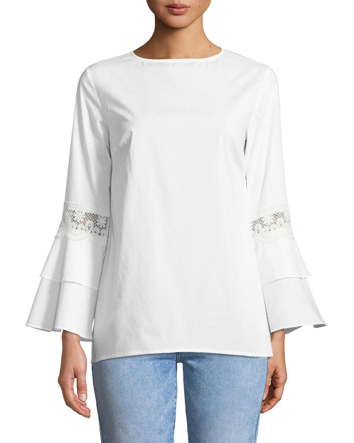 951b40c71b967 Lyst - Neiman Marcus Crochet-trim Tiered Bell-sleeve Blouse in White