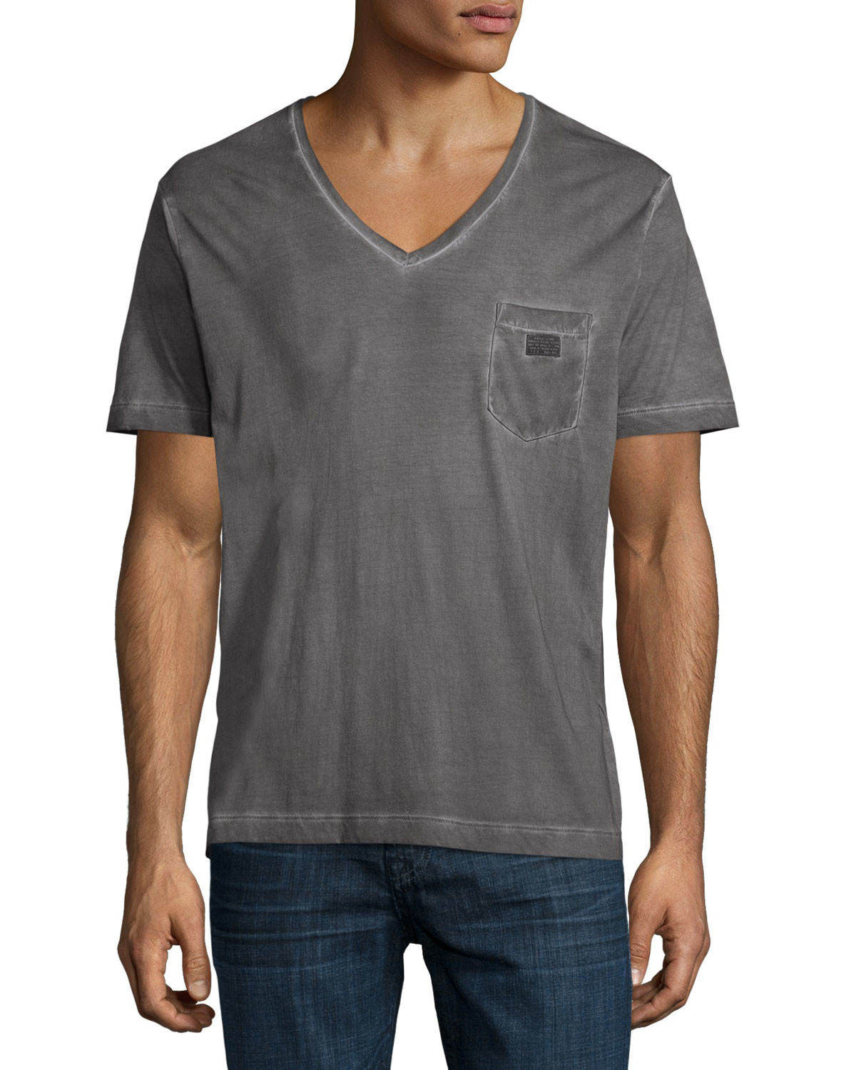 Diesel Faded V Neck Cotton Tee In Gray For Men Lyst