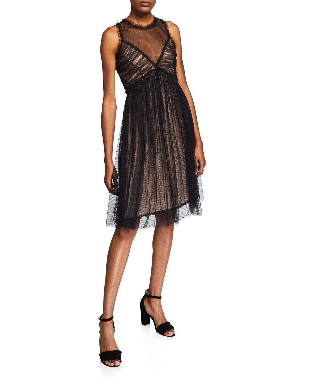 6c64e7bb1f8ee7 Lyst - Max Studio Illusion-neck Ruffled Mesh A-line Dress in Black