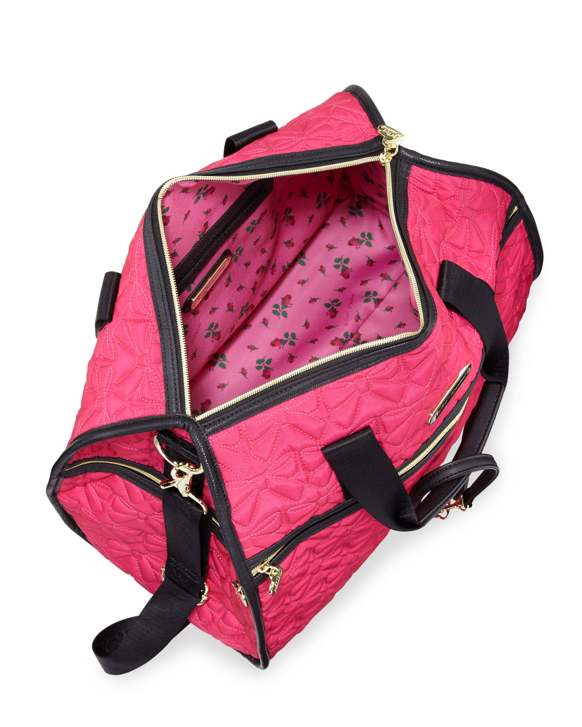 Lyst Betsey Johnson Bow Quilted Weekender Bag In Pink