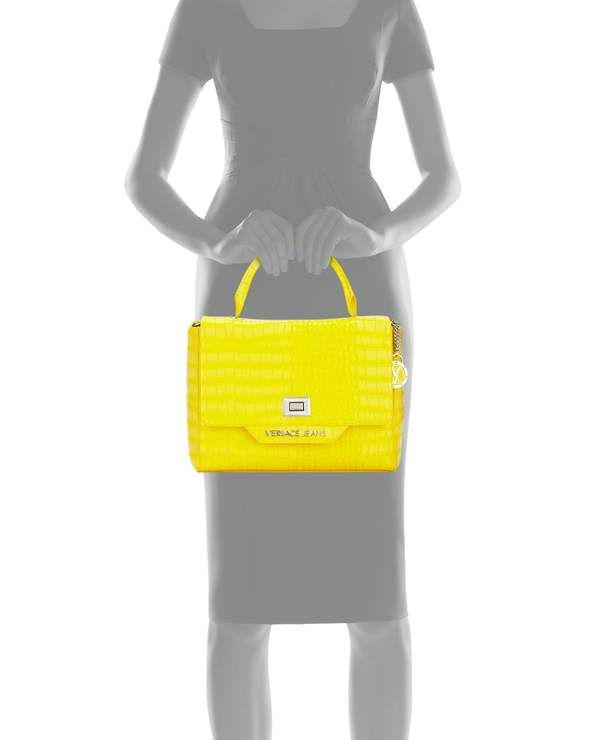 2ea84a470bed Lyst - Versace Jeans Crocodile-embossed Box Satchel Bag in Yellow