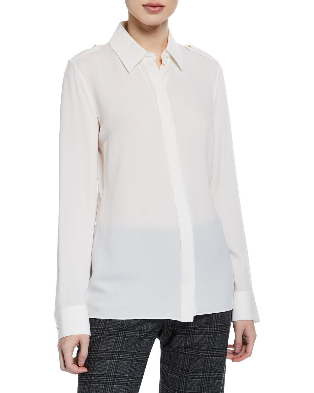 1c0441a9d1f34 Lyst - Michael Kors Silk Georgette Epaulet Blouse in White