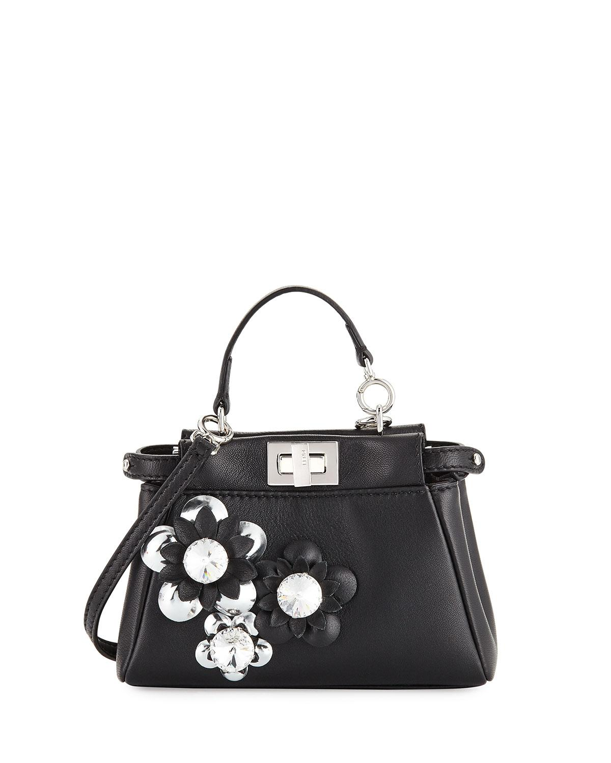 Lyst - Fendi Peekaboo Micro Flower Satchel Bag Nero argento in Black 28f7bc016788e
