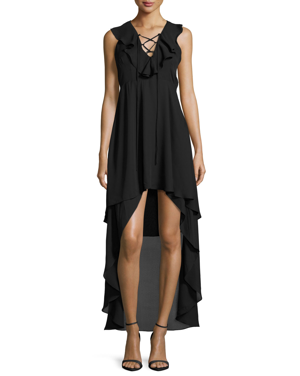 Romeo and juliet couture lace up high low ruffled dress in for High couture clothing