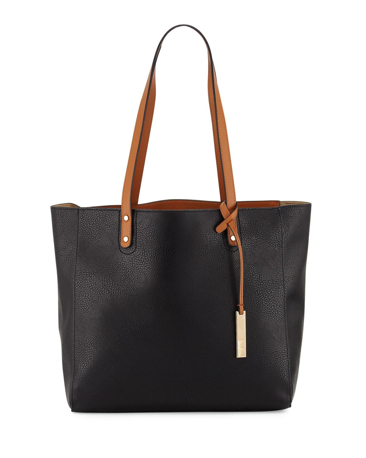 neiman textured leather organizer tote bag in