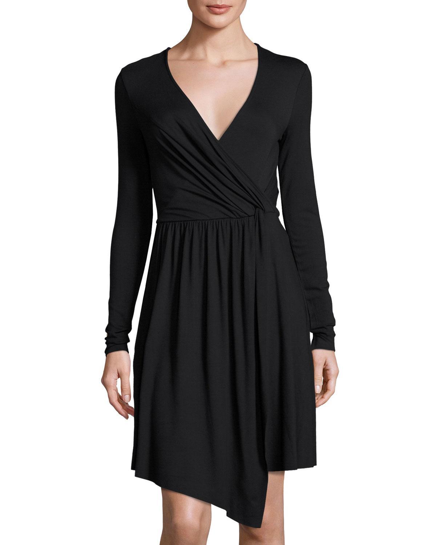Lyst Three Dots Gabriella Faux Wrap Jersey Dress In Green