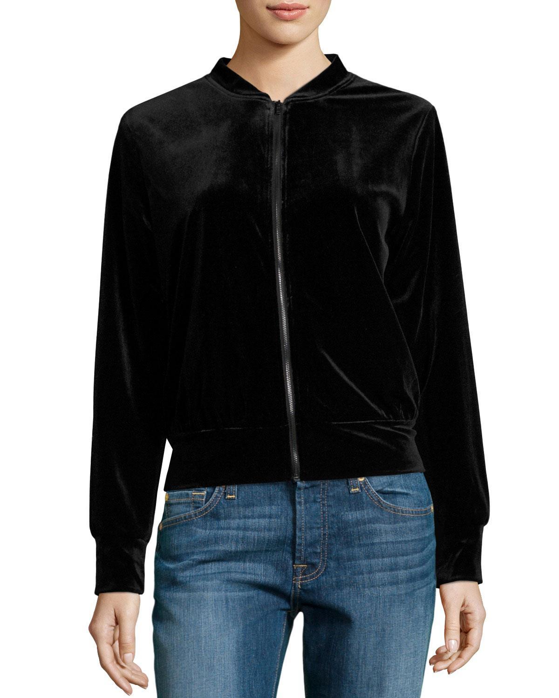 Hazel Velvet Bomber Jacket W/ Embroidered Back In Black   Lyst