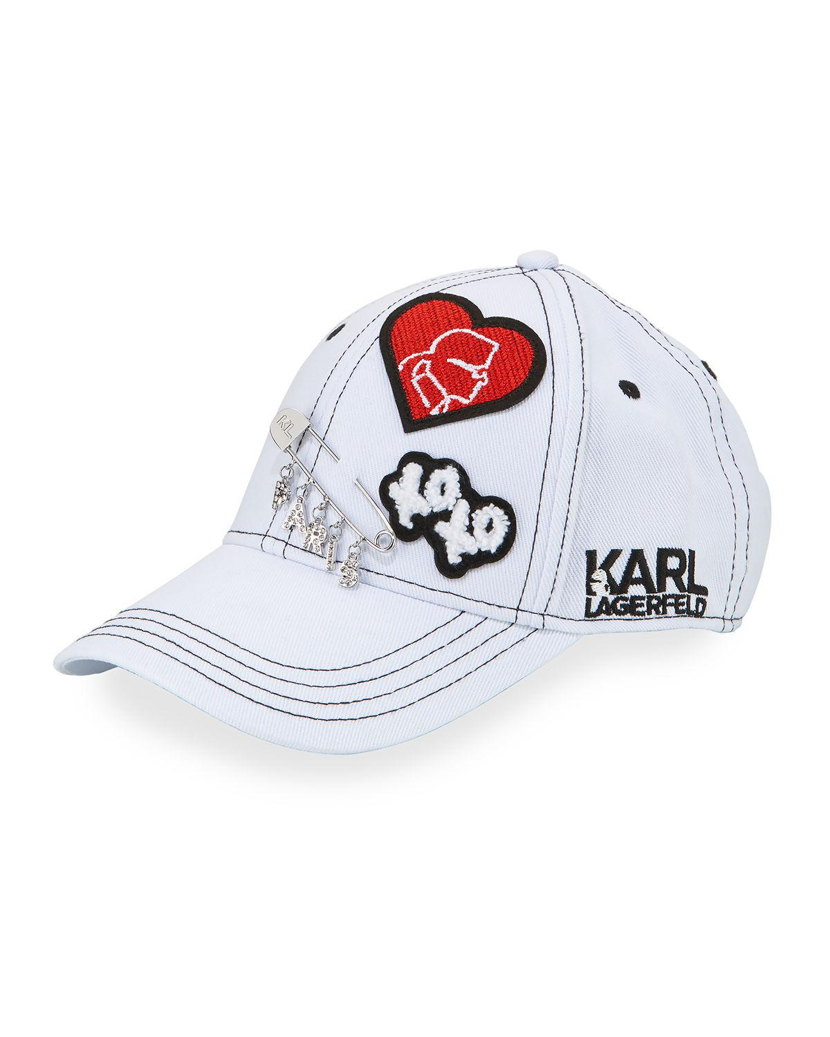 39ee0baedb785 Karl Lagerfeld Logo Patch And Charm Baseball Cap in White - Lyst