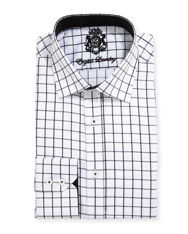 english laundry large windowpane check dress shirt in