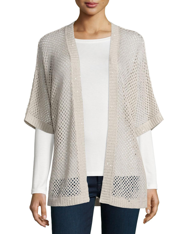 Open Weave Cardigan Sweater