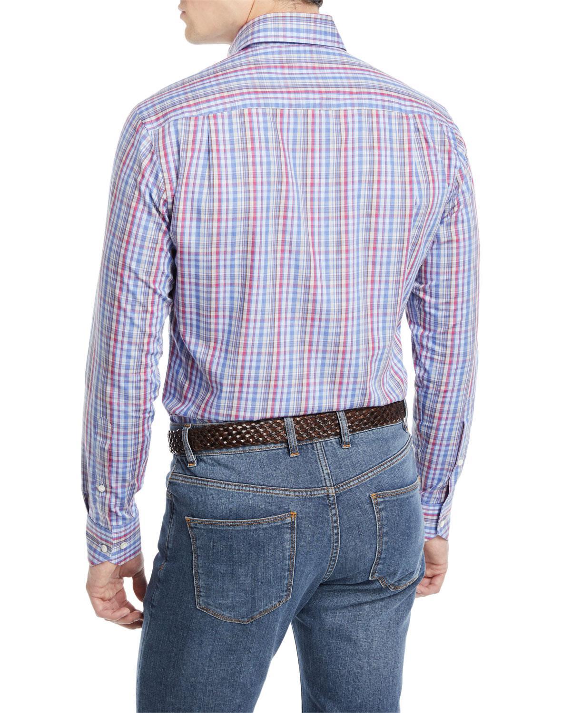 a5add2989827 Lyst - Peter Millar Men s Fika Plaid Cotton Sport Shirt in Blue for Men