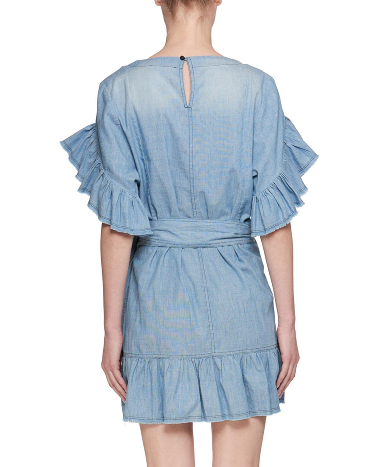 33fcb6c4ad9 Lyst - Étoile Isabel Marant Lelicia Round-neck Wrap-front Chambray Dress in  Blue