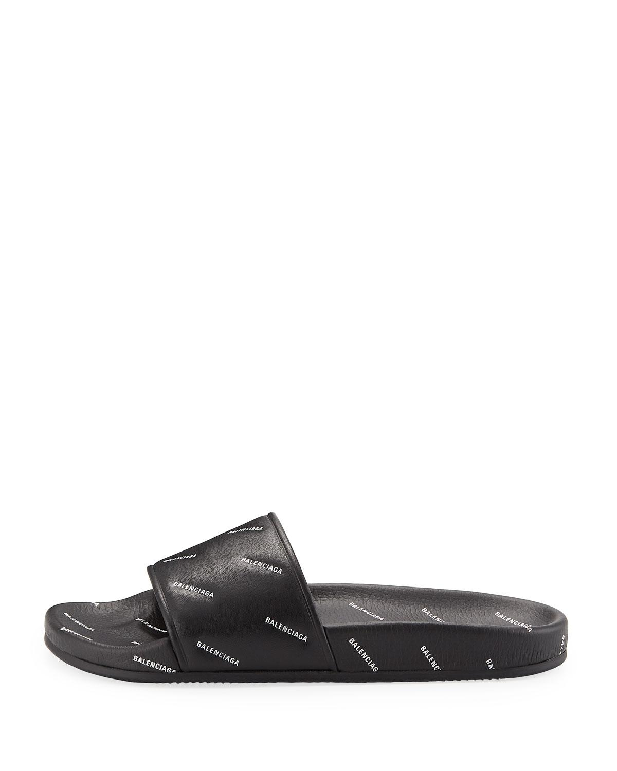 6e9315b47ee6 Lyst - Balenciaga Men s Logo-print Pool Slide Sandals in Black for Men - Save  47%