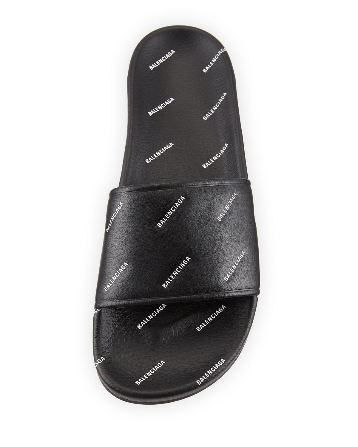 63c86fc5a02a Balenciaga - Black Men s Logo-print Pool Slide Sandals for Men - Lyst. View  fullscreen