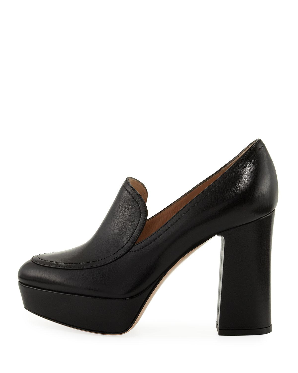 109823ed661e Lyst - Gianvito Rossi Platform Leather Loafer Pump in Black