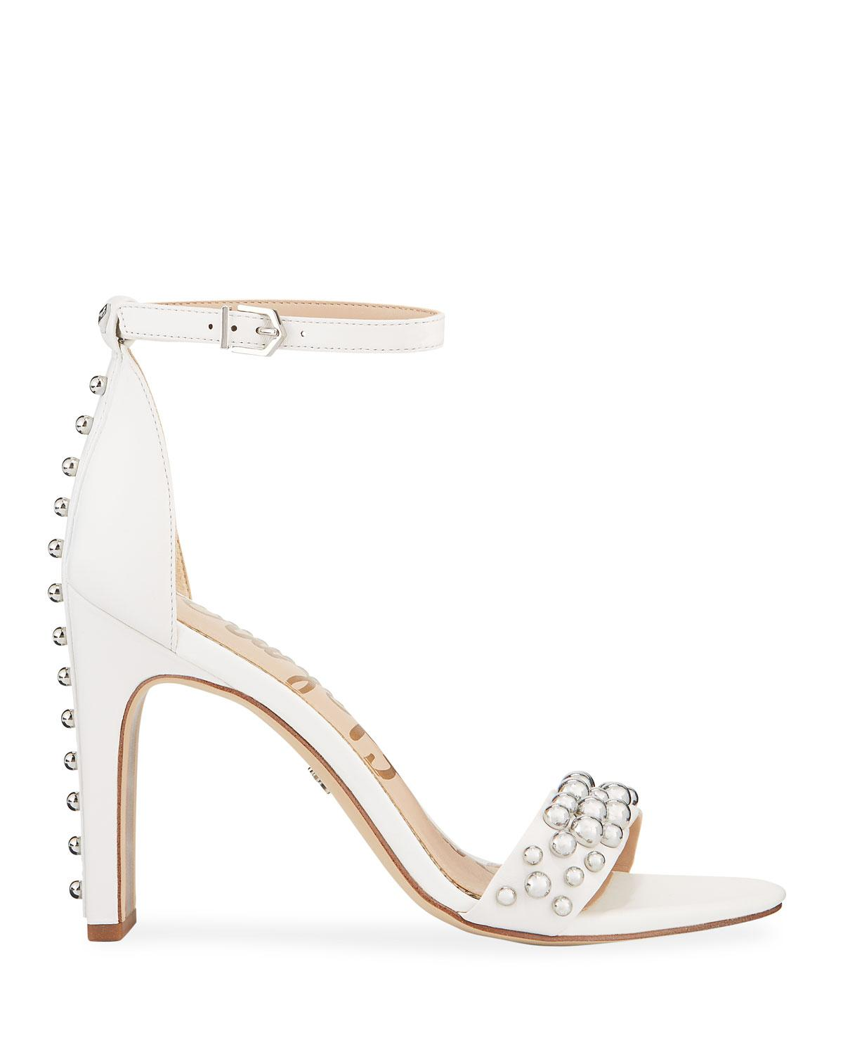 3bf54fb4dc50 Lyst - Sam Edelman Yoshi Ball-studded Leather Ankle-wrap Sandals in White