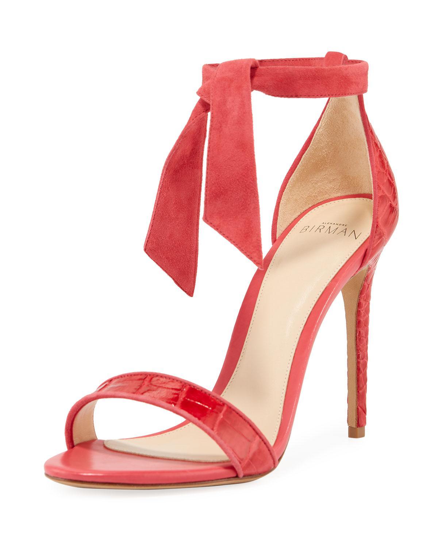 c29fd1f3ba Alexandre Birman New Clarita Ankle-tie Crocodile Sandals in Pink - Lyst