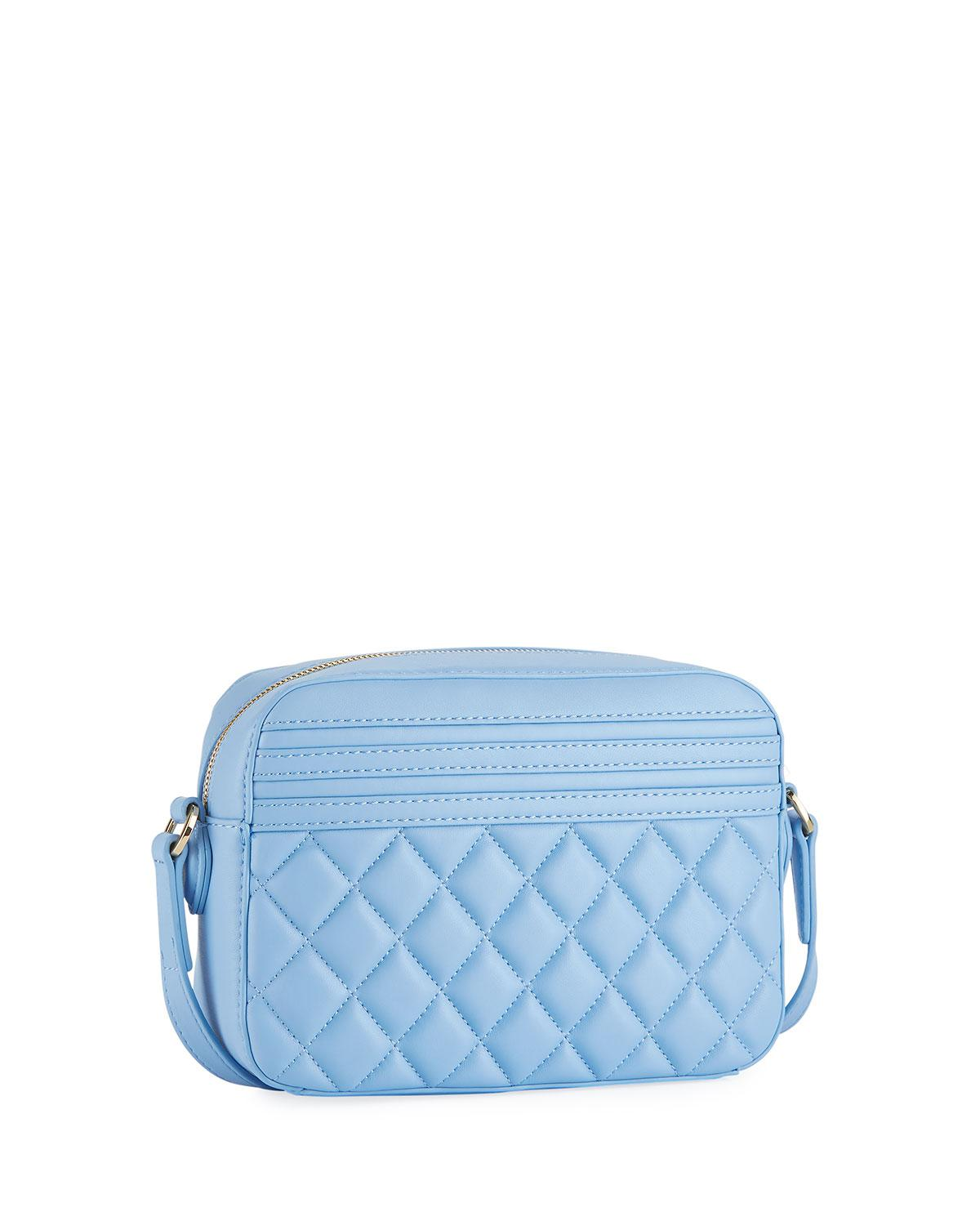 Love Moschino Quilted Napa Faux Crossbody Bag, Blue