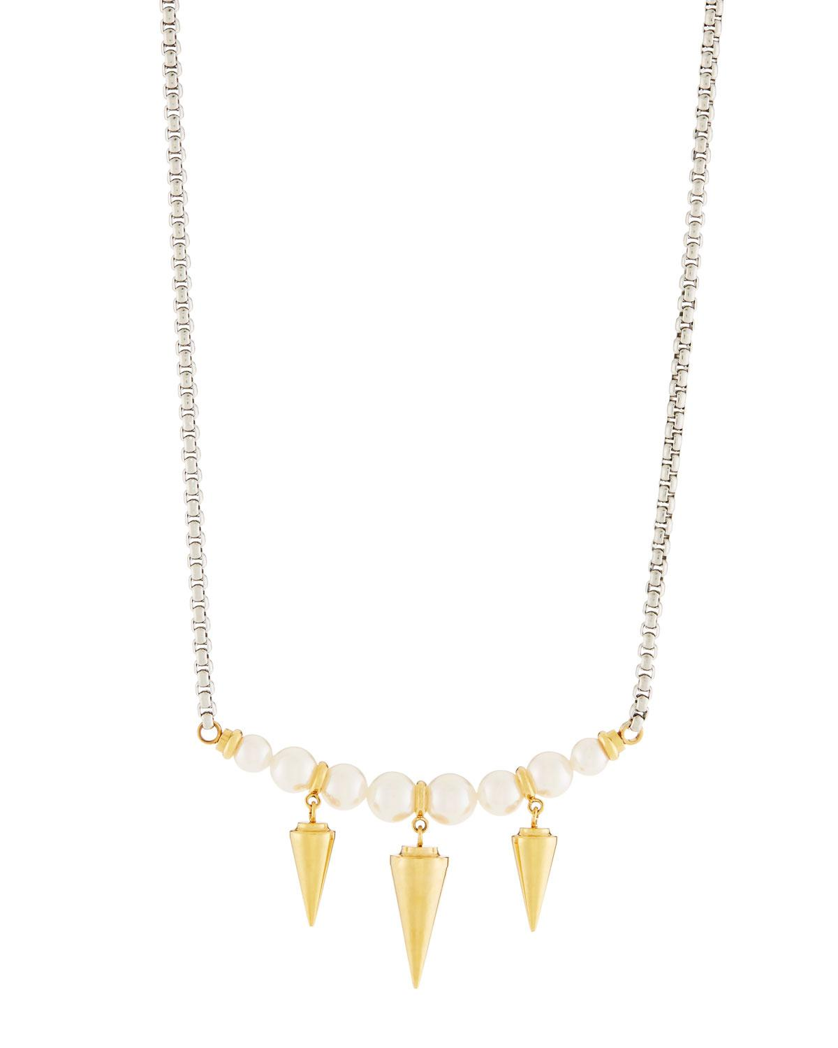 Majorica Pearly Spike Pendant Necklace hMWSeVHu