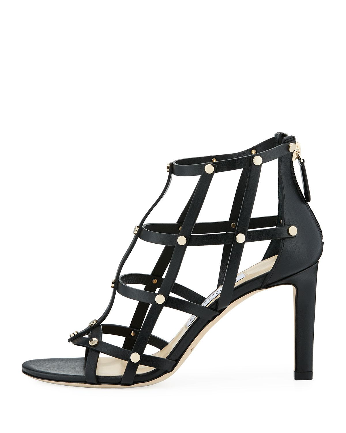 18ec3ae3f69c Lyst - Jimmy Choo Tina 85mm Studded Leather Cage Sandal in Black