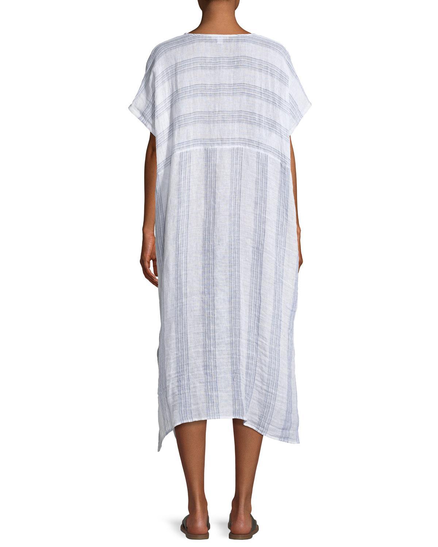 28f59297b33 Lyst - Eileen Fisher Gauze Striped Organic Linen V-neck Dress in Blue