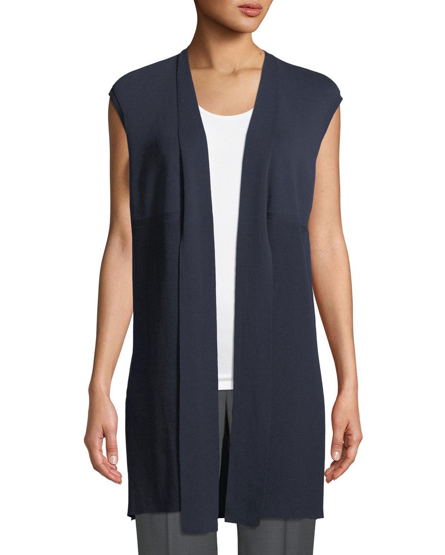 Lafayette 148 new york Cap-sleeve Tie-front Sweater Vest in Blue ...