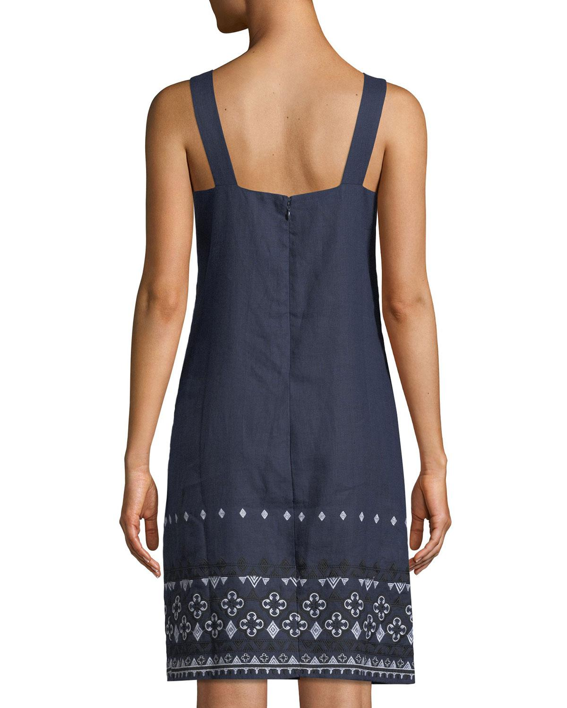 51046e102aa Lyst - Neiman Marcus Linen Embroidered-hem Shift Dress in Blue