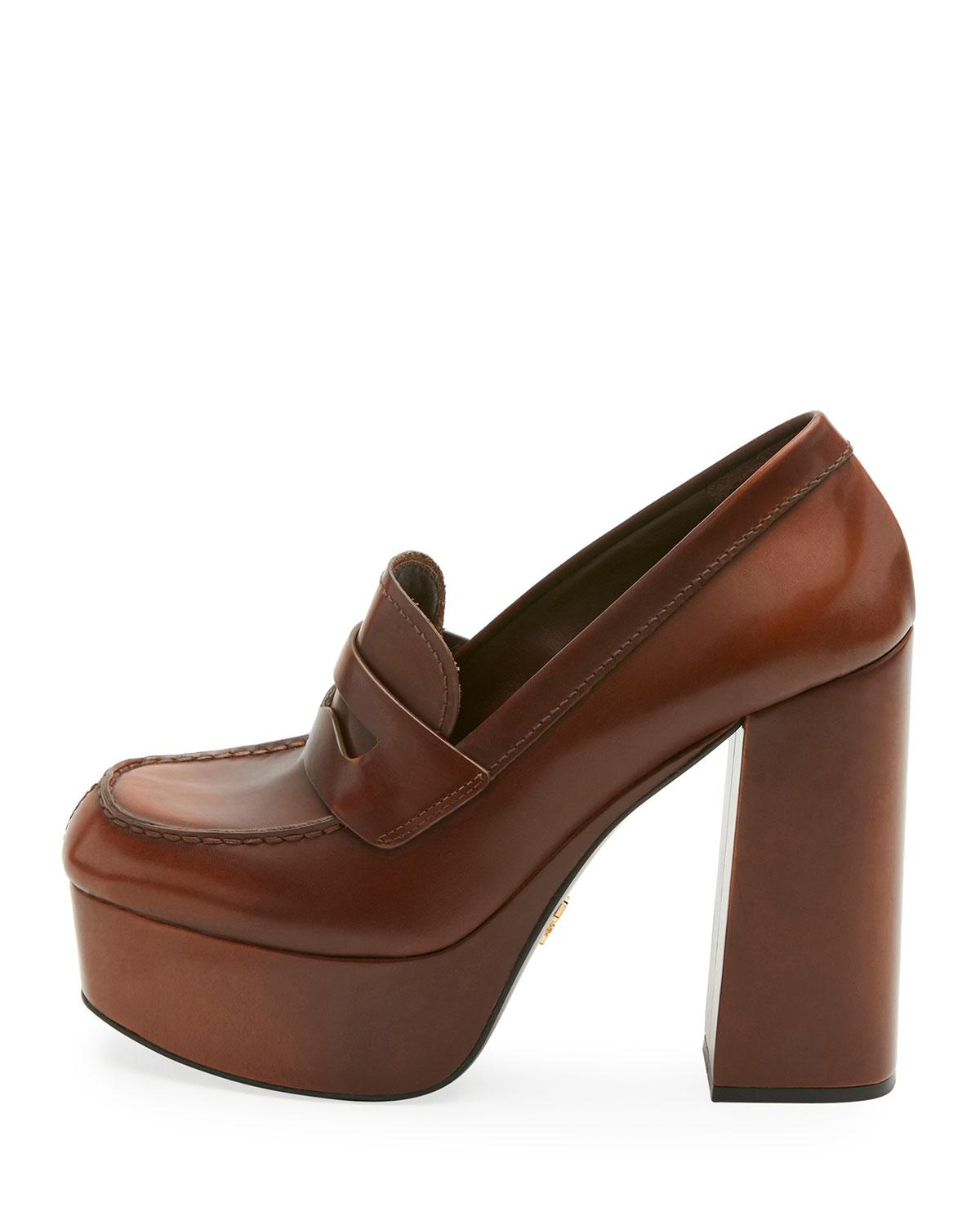 28cfc7b07a26 ... order lyst prada burnished leather platform loafer pump in brown 293c3  6b058 ...
