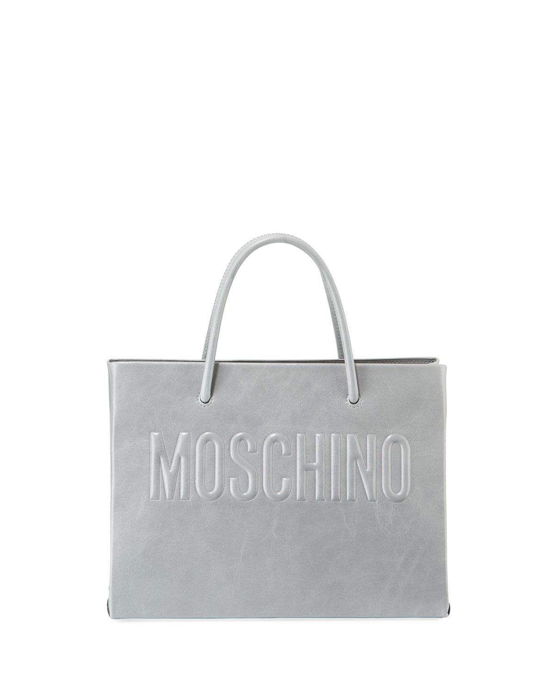 374cf73da920 Lyst - Moschino Metallic Leather Tote Bag in Gray