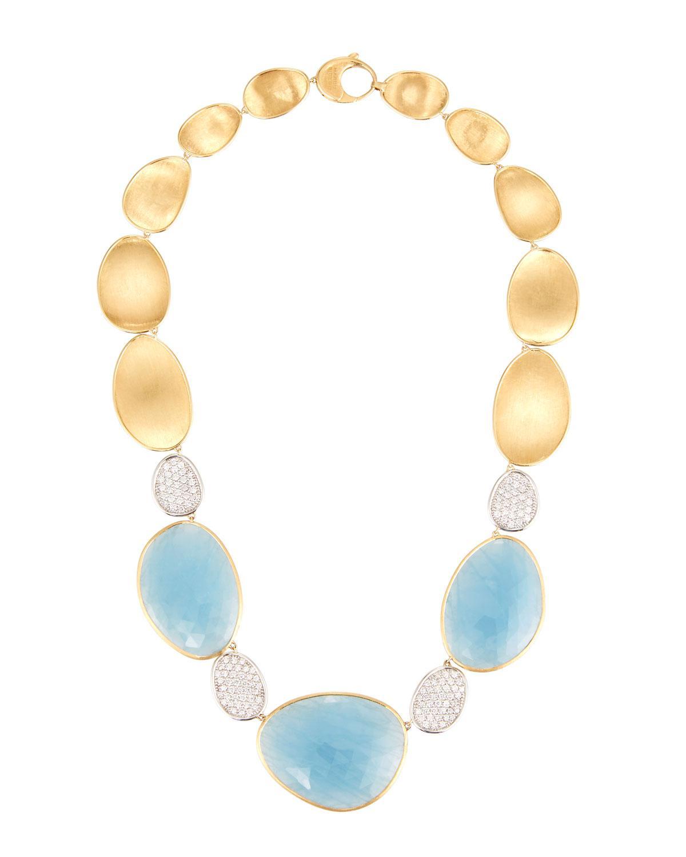Marco Bicego 18k Lunaria Necklace w/ Aquamarine & Diamonds XAcJm