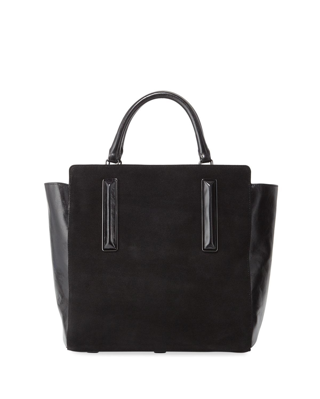 Lyst - Halston Large Leather Satchel Bag in Black 0f8b016f0fdf5
