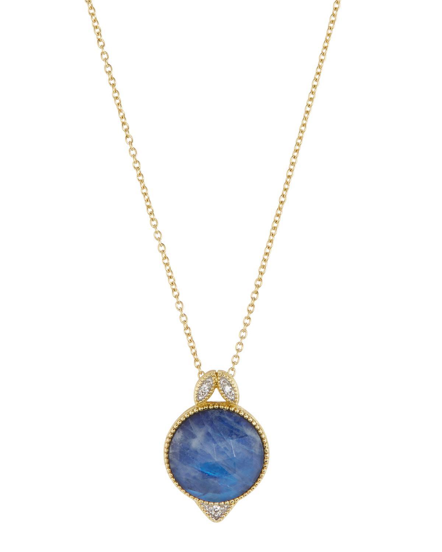 Jude Frances 18K Lisse Leaf Diamond V Necklace, 16