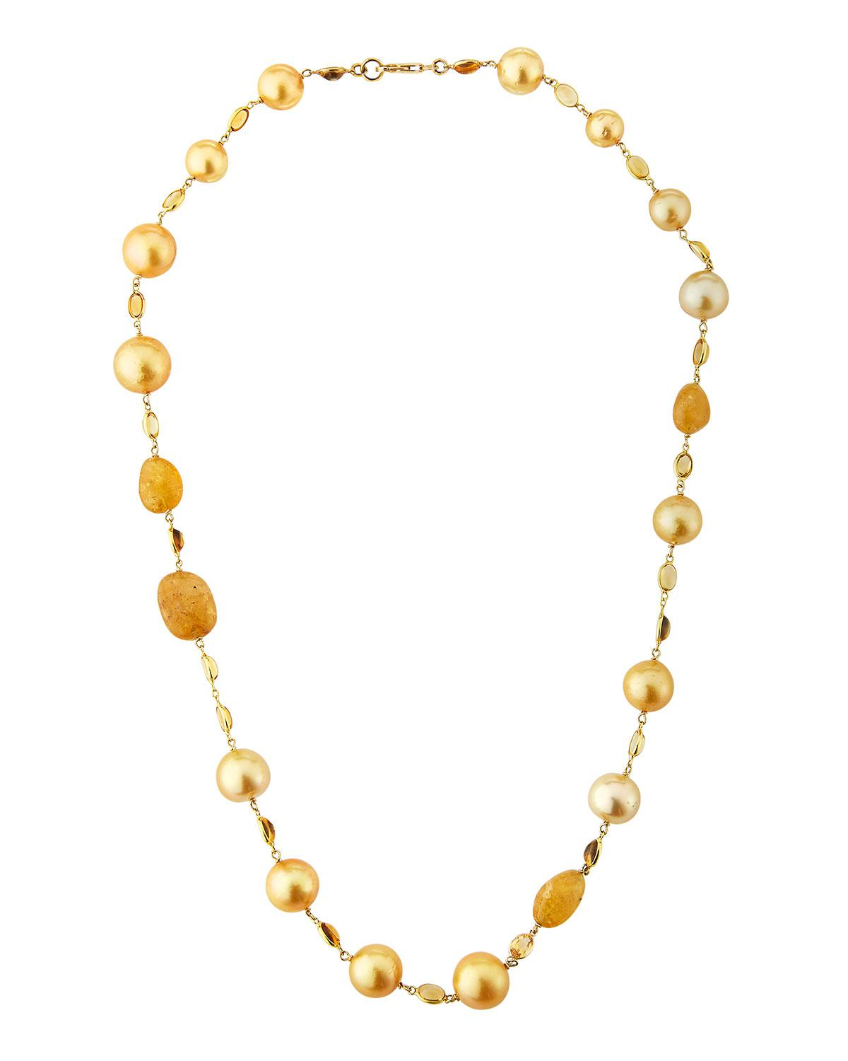 Belpearl 18k South Sea Pearl Station Necklace PA1ropC