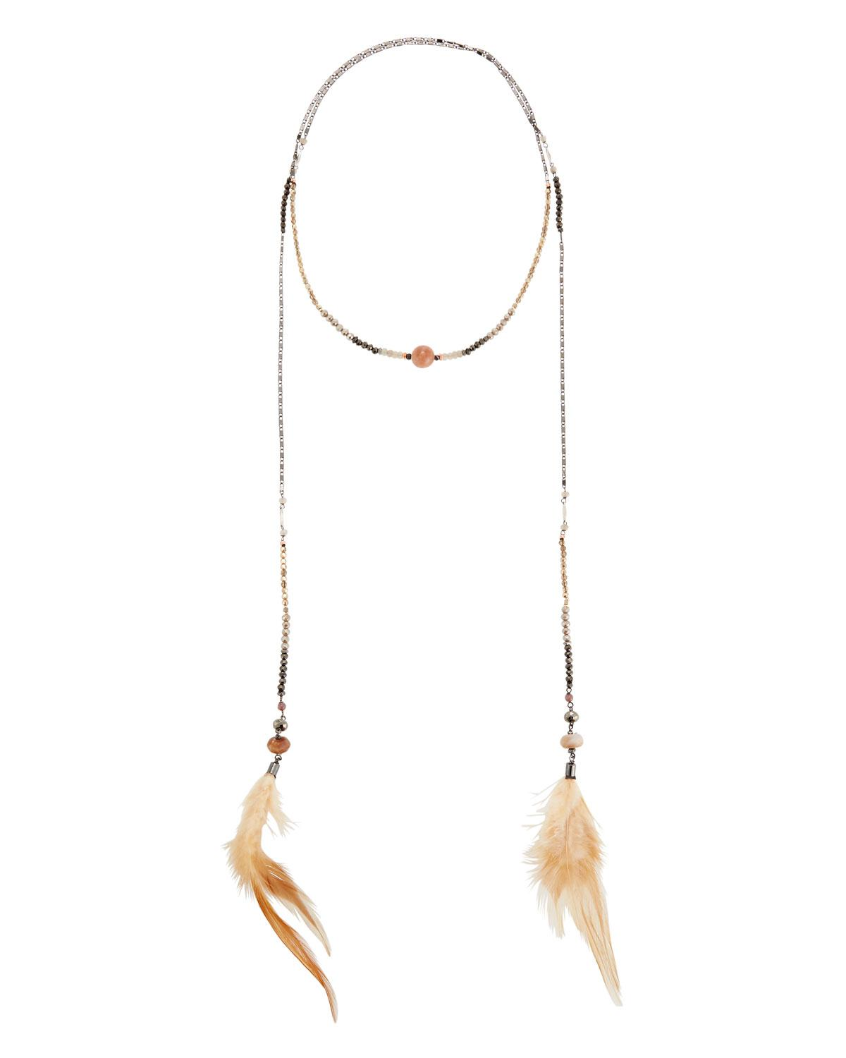 Nakamol Wrapped Lariat Feather Necklace h10RhgO82