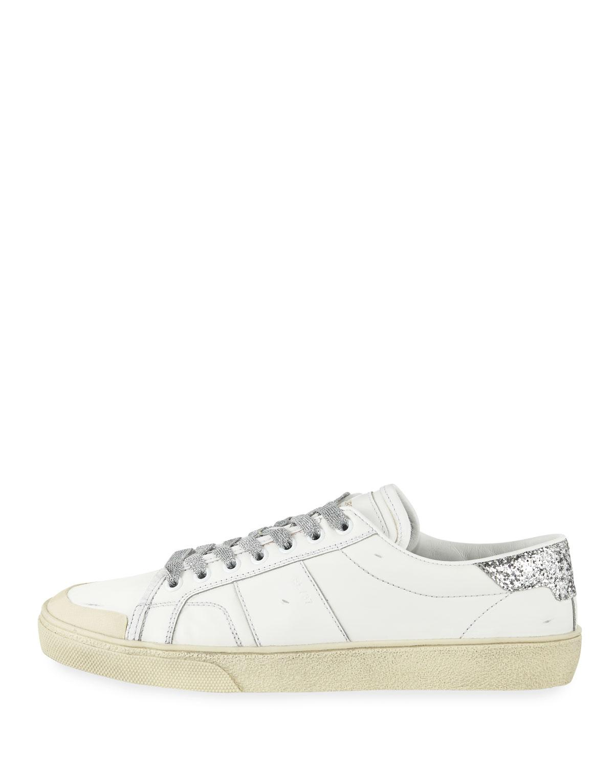d28f8c56415 Lyst - Saint Laurent Leather Low-top Glitter Platform Sneakers in White