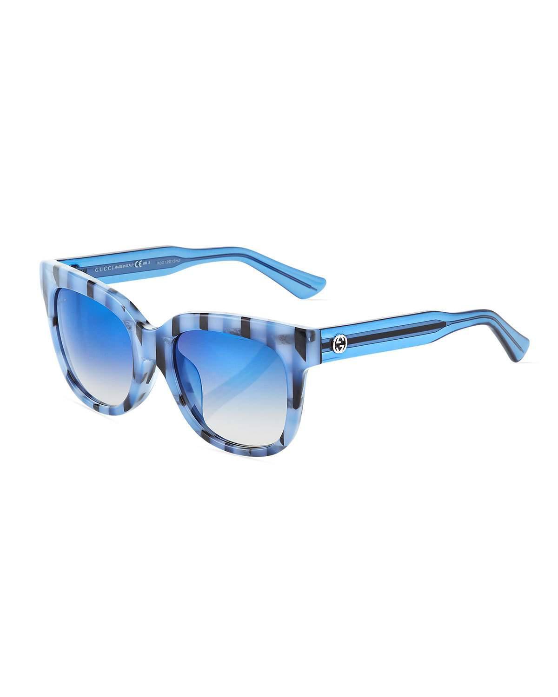 6a9408d467 Lyst - Gucci Square Acetate Striped Sunglasses in Black
