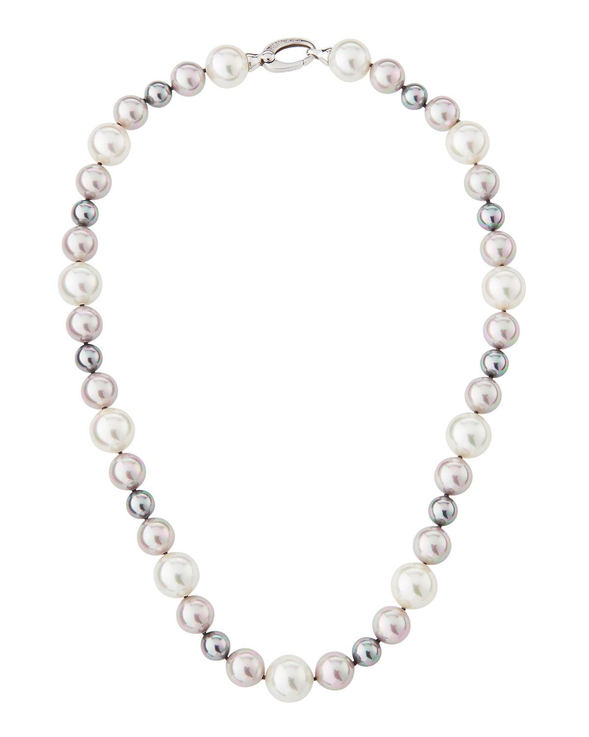 f1f9ff7e3 Lyst - Majorica Mixed & Multihued Pearl Necklace in Gray