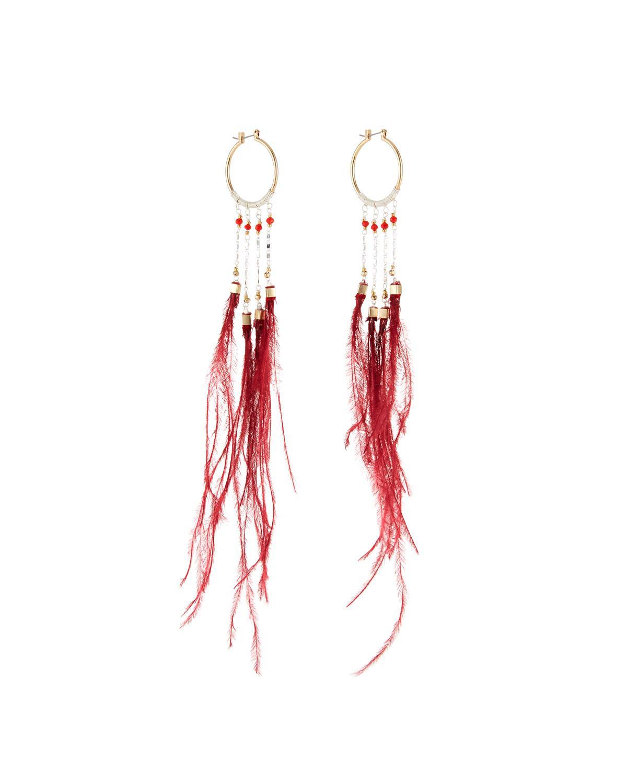 Nakamol Long Double-Circle Feather Drop Earrings Xvq1GU