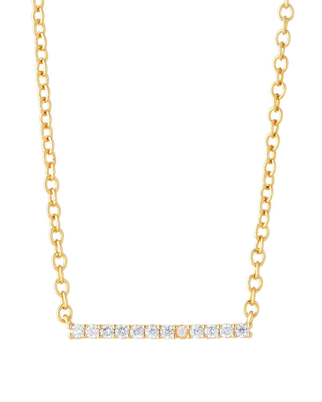 Gorjana Triple Layered Chain Necklace w/ Cubic Zirconia uGY5KKz